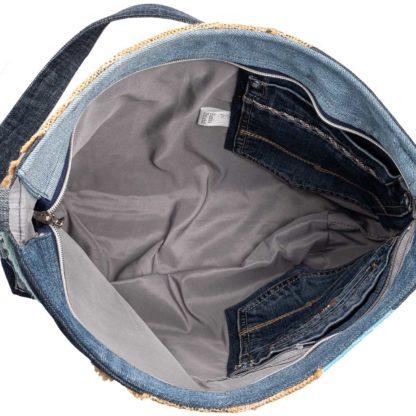 torba listonoszka z dżinsu wnętrze Hanka Dziala